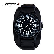 Недорогие Фирменные часы-SINOBI Мужской Спортивные часы Наручные часы Защита от влаги Спортивные часы Кварцевый Кожа Группа Черный