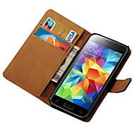 Para Funda Samsung Galaxy Soporte de Coche / Cartera / con Soporte / Flip Funda Cuerpo Entero Funda Un Color Cuero Sintético SamsungS5