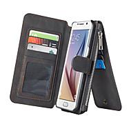Для Samsung Galaxy S7 Edge Бумажник для карт / Кошелек / со стендом / Флип Кейс для Чехол Кейс для Один цвет Искусственная кожа SamsungS7