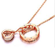 preiswerte -Damen Herz Sterling Silber Strass Silber Anhängerketten  -  Liebe Modisch Gold Silber Modische Halsketten Für Party Alltag Normal
