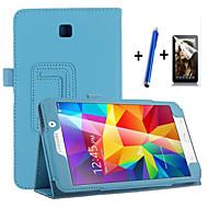 Недорогие Чехлы и кейсы для Galaxy Tab 4 7.0-Кейс для Назначение SSamsung Galaxy со стендом С функцией автовывода из режима сна Флип Чехол Сплошной цвет Твердый Кожа PU для Tab 4 7.0
