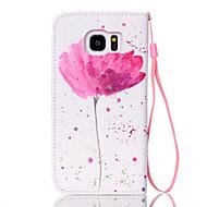 Недорогие Чехлы и кейсы для Galaxy S7 Edge-Кейс для Назначение SSamsung Galaxy Samsung Galaxy S7 Edge Бумажник для карт Кошелек со стендом Флип Чехол Цветы Кожа PU для S7 edge S7