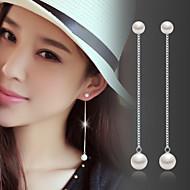 お買い得  -女性用 真珠 ドロップイヤリング - 真珠, 純銀製, シルバー ファッション, 誕生石です. シルバー 用途 結婚式 / パーティー / 日常