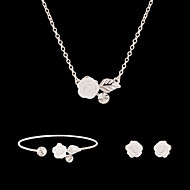 Недорогие Украшения в цветочном стиле-Синтетический алмаз Комплект ювелирных изделий - Стразы, Искусственный бриллиант Цветы Для вечеринки, Мода Включают Белый Назначение Для вечеринок / Особые случаи / Годовщина / Серьги / Ожерелья