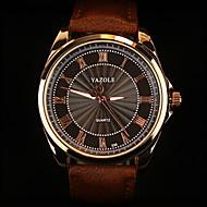 Недорогие Фирменные часы-YAZOLE Муж. Наручные часы Повседневные часы Кожа Группа Кулоны Черный / Коричневый / SSUO 377