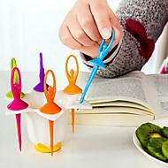 abordables Cubertería-6 unids bailando fruta niña tenedor creativo herramientas de cocina decoración del hogar