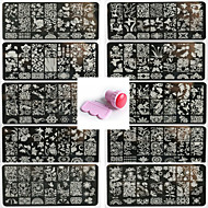 abordables Estampados de Uñas-10pcs del arte del clavo de encaje pattren sello plantilla de uñas dan 1 juego de herramientas de sellado 12x6cm