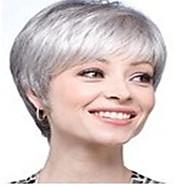 halpa -Synteettiset peruukit Suora Tiheys Suojuksettomat Naisten Harmaa Carnival Peruukki Halloween Peruukki Lyhyt Synteettiset hiukset