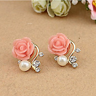 cheap Floral Jewelry-Women's Stud Earrings - Resin White / Pink For Daily Casual