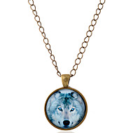 Men's Women's Wolf Animal Shape Simple Style Pendant Necklace Gemstone Glass Alloy Pendant Necklace Party Daily Casual Costume Jewelry