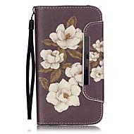Для Кейс для  Samsung Galaxy Бумажник для карт / Кошелек / со стендом / Флип Кейс для Чехол Кейс для Цветы Искусственная кожа Samsung J5