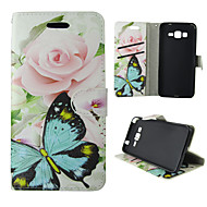 Для Кейс для  Samsung Galaxy Бумажник для карт / Кошелек / со стендом / Флип Кейс для Чехол Кейс для Бабочка Искусственная кожа Samsung