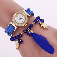 Women's Quartz Analog White Case Feather Owl Pendant Leather Band Bracelet Wrist Watch Jewelry Cool Watches Unique Watches Fashion Watch