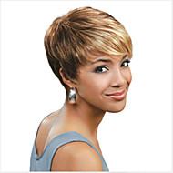 olcso -Női Szintetikus parókák Sapka nélküli Rövid Egyenes Vegyes szín Balayage haj Pixie frizura Bretonnal Természetes paróka Halloween paróka