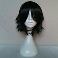 halpa -Synteettiset peruukit Suora Otsatukalla Tiheys Naisten Musta Carnival Peruukki Halloween Peruukki musta Wig Lyhyt Synteettiset hiukset