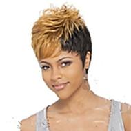 halpa -Synteettiset peruukit Kihara Pixie-leikkaus Otsatukalla Tiheys Suojuksettomat Naisten Vaaleahiuksisuus Carnival Peruukki Halloween