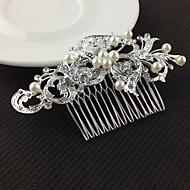 abordables Tocados-Mujer Cristal Perla Artificial Pinza Plata