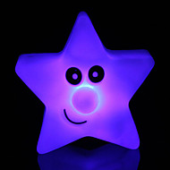 abordables Lámparas Portátiles-creativo que cambia de color luz de la estrella de acrílico colorido de cinco estrellas llevó la luz de la noche pequeña linterna de la