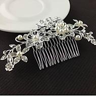 abordables Tocados-Mujer Floral Elegante Cristal Perla Artificial Plata Diamante Sintético Peine Plata
