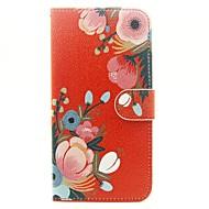 Недорогие Кейсы для iPhone-Кейс для Назначение Apple Кейс для iPhone 5 iPhone 6 iPhone 6 Plus Бумажник для карт Кошелек со стендом Чехол Цветы Твердый Кожа PU для