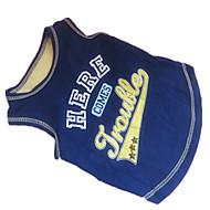 お買い得  -犬 Tシャツ 犬用ウェア 文字&番号 ブルー とイエロー コットン コスチューム ペット用