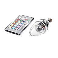3W E14 Becuri LED Lumânare C35 1 led-uri 450-700lm RGB Telecomandă AC 85-265