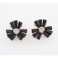 Godny podziwu Żywica Kryształ górski Stop Flower Shape Black Orange Pink and Green Biżuteria Na Ślub Impreza Codzienny 1 para