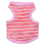 お買い得  -ネコ 犬 Tシャツ 犬用ウェア 縞柄 ブルー ピンク コットン コスチューム ペット用 男性用 女性用 ファッション