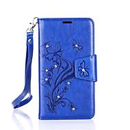 Для Кейс для  Samsung Galaxy Бумажник для карт / Кошелек / Стразы / со стендом / Флип Кейс для Чехол Кейс для Бабочка Твердый