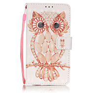 Для Кейс для  Samsung Galaxy Бумажник для карт / Кошелек / со стендом / Флип Кейс для Чехол Кейс для Сова Мягкий Искусственная кожа