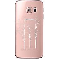 Недорогие Чехлы и кейсы для Galaxy S7 Edge-Кейс для Назначение SSamsung Galaxy Samsung Galaxy S7 Edge Прозрачный С узором Кейс на заднюю панель дерево Мягкий ТПУ для S7 edge S7 S6