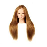 abordables Pelucas y Extensiones-yaki sintética peluquería cabeza maniquí femenino con maquillaje