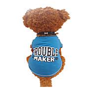 お買い得  -犬 Tシャツ 犬用ウェア 文字&番号 ブラックとブルー コットン コスチューム ペット用