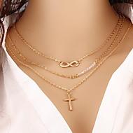 Жен. Ожерелья с подвесками Крестообразной формы бесконечность Позолота Сплав Мода Многослойный бижутерия Бижутерия Назначение Для