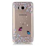 Для Кейс для  Samsung Galaxy Прозрачный Рельефный Кейс для Задняя крышка Кейс для Цветы Мягкий TPU для SamsungJ7 (2016) J5 (2016) J3 J1