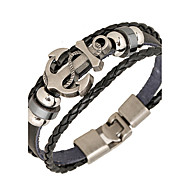 Punk Men's Bracelet PU Leather Bracelet Easy Hook Anchor for Men Fashion Jewelry Gifts