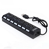 7 USB Ports Multi Ports USB2.0 Hub Independent Switch and leds