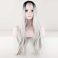 abordables Maquillaje y manicura-Pelucas sintéticas Rizado Raya en medio / Raíces oscuras / Pelo Ombre Gris Mujer Sin Tapa Peluca de carnaval / Peluca de Halloween /