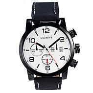 CAGARNY 남성용 밀리터리 시계 드레스 시계 패션 시계 손목 시계 석영 / 가죽 밴드 빈티지 블랙 브라운