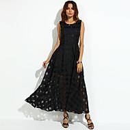 abordables -Femme Vacances Rétro Vintage Maxi Balançoire Robe Couleur Pleine Eté Blanc Noir L XL XXL Sans Manches