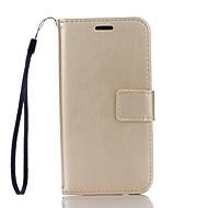 Для Кейс для  Samsung Galaxy Кошелек / Бумажник для карт / со стендом / Флип Кейс для Чехол Кейс для Один цвет Твердый Искусственная кожа
