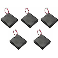 5PCS  4 AA Battery Compartment Lid With Switch With Red And Black Wire On The 5th Battery Holder