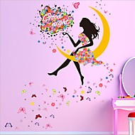 카툰 벽 스티커 플레인 월스티커 데코레이티브 월 스티커 / 웨딩 스티커,PVC 자료 이동가능 / 재부착가능 홈 장식 벽 데칼