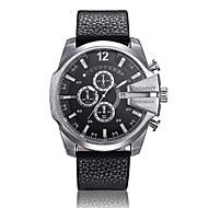 CAGARNY 남성용 패션 시계 손목 시계 석영 달력 PU 밴드 빈티지 캐쥬얼 멋진 블랙 브라운