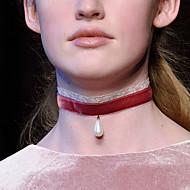 Женский Ожерелья-бархатки Жемчужные ожерелья Татуировка Choker Жемчуг Кружево Свисающие Тату-дизайн Мода Белый Черный Красный Бижутерия