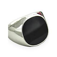 สำหรับผู้ชาย พลอยสังเคราะห์ หินอัญมณี สีดำธรรมชาติ คำชี้แจง Ring แหวนตรา - ส่วนบุคคล, วินเทจ, Punk, สไตล์เรียบง่าย, แฟชั่น เครื่องประดับ สีเงิน / ทอง สำหรับ ของขวัญวันคริสต์มาส ทุกวัน ที่มา 8 / 9