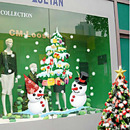 Christmas Shop Window Display White Snowman Color The Wall Stickers 50*70CM