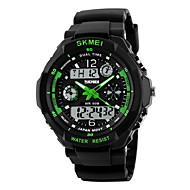 SKMEI Heren Sporthorloge Militair horloge Polshorloge Kwarts Japanse quartz LED LCD Kalender Waterbestendig Dubbele tijdzones alarm