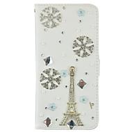 Для Кошелек / Бумажник для карт / Стразы / со стендом / Флип Кейс для Чехол Кейс для Эйфелева башня Твердый Искусственная кожа SamsungS7