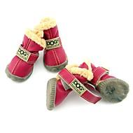 Недорогие Бижутерия и аксессуары для собак-Собака Ботинки и сапоги Зимние сапоги Сохраняет тепло Водонепроницаемый Мода Однотонный Коричневый Красный Синий Винный Темно-зеленый Для